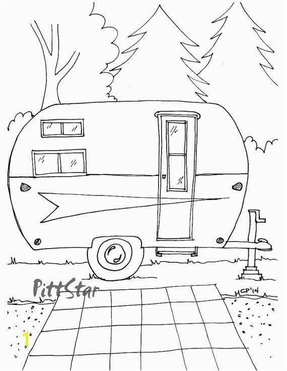 Rv Coloring Pages Instant Download Vintage Arrow Travel Trailer Printable Adult