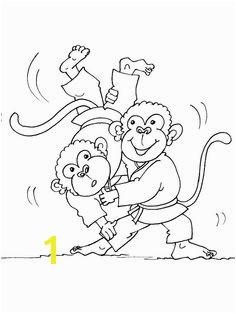 Cartoon Monkey Slamming Cartoon monkeyJudoColoring Pages