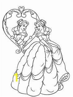 Belle Belle Look in The Mirror Coloring Pages