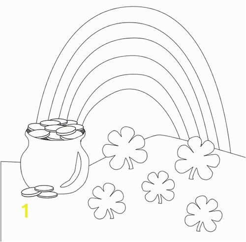 rainbow pot o gold St Patricks Day coloring pages
