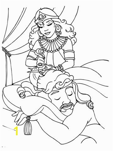 Delilah Cutting Samson s Hair Coloring page
