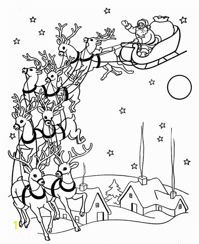 christmas coloring pages santa reindeer