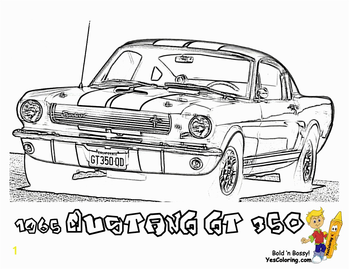 1965 Shelby Mustang GT 350 Cars Printable Coloring Picture at YesColoring