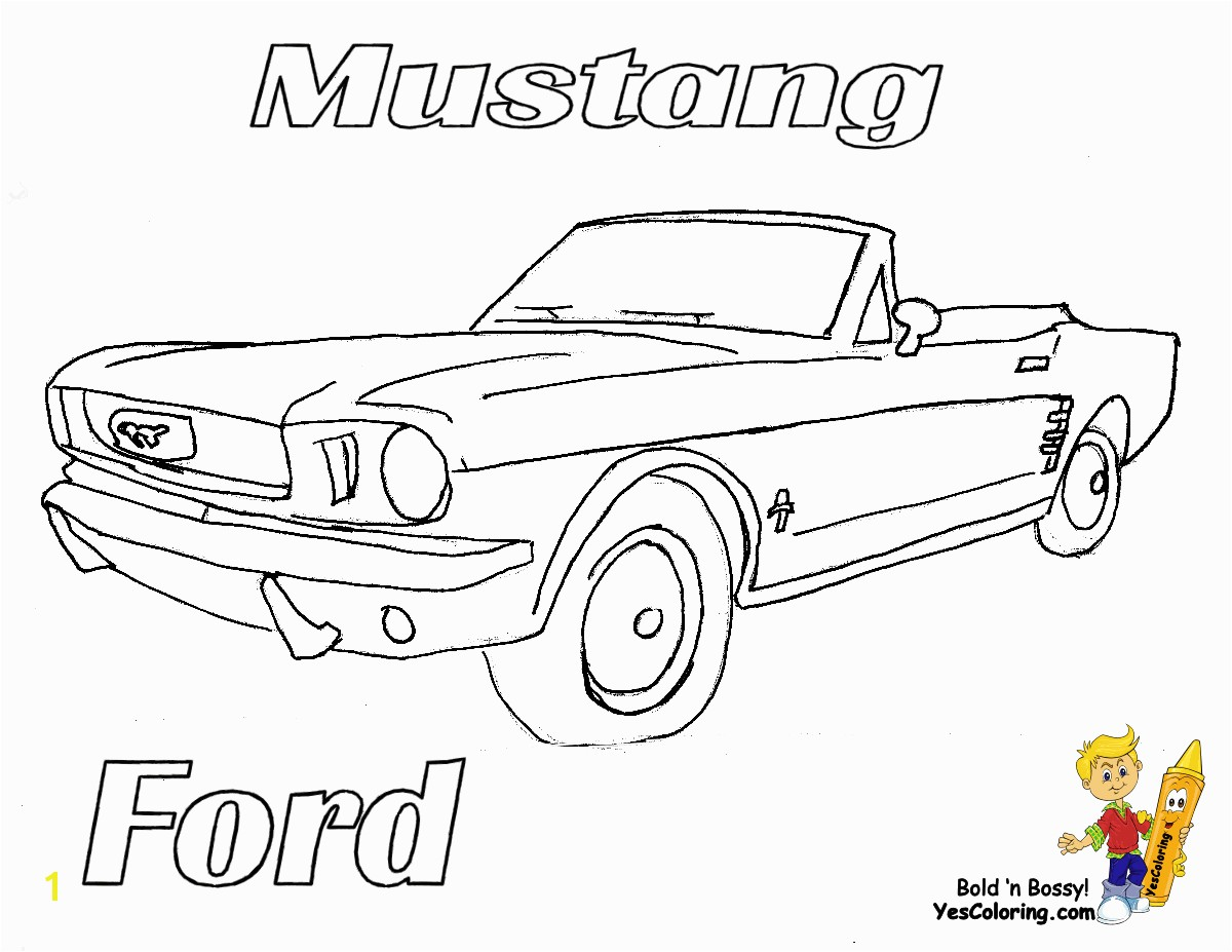 Preschool Children Cars Coloring Pages of Ford Mustang Convertible at YesColoring