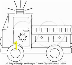 Coloring Page Outline A Fire Truck With A Ladder Poster Art Print cup cake topper for cupcakes