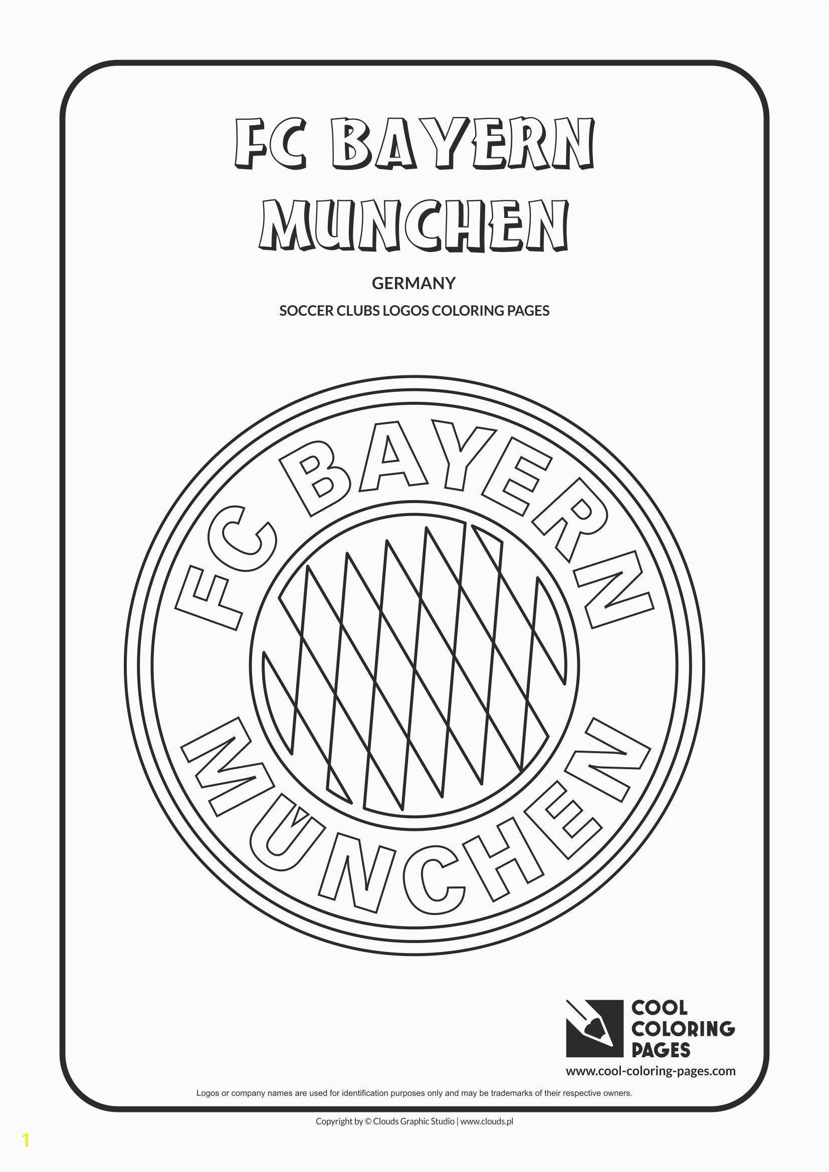Cool Coloring Pages Soccer Club Logos FC Bayern Munchen logo Coloring page with FC Bayern Munchen logo