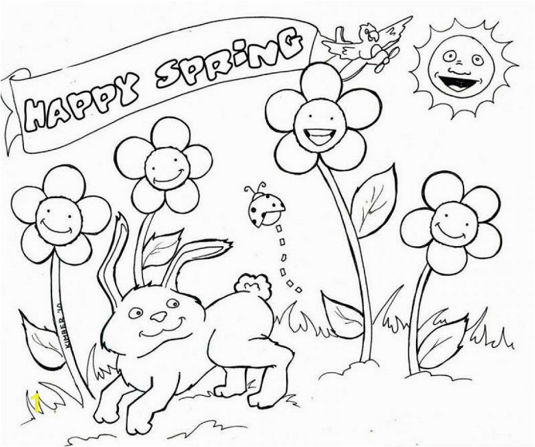 happy spring coloring pages
