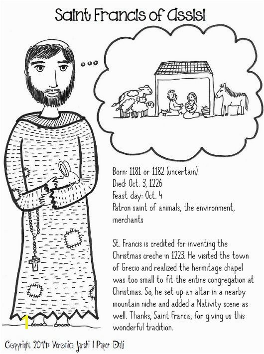 St Francis and the nativity printable coloring page