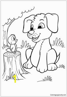 The Pup And Bird Coloring Page