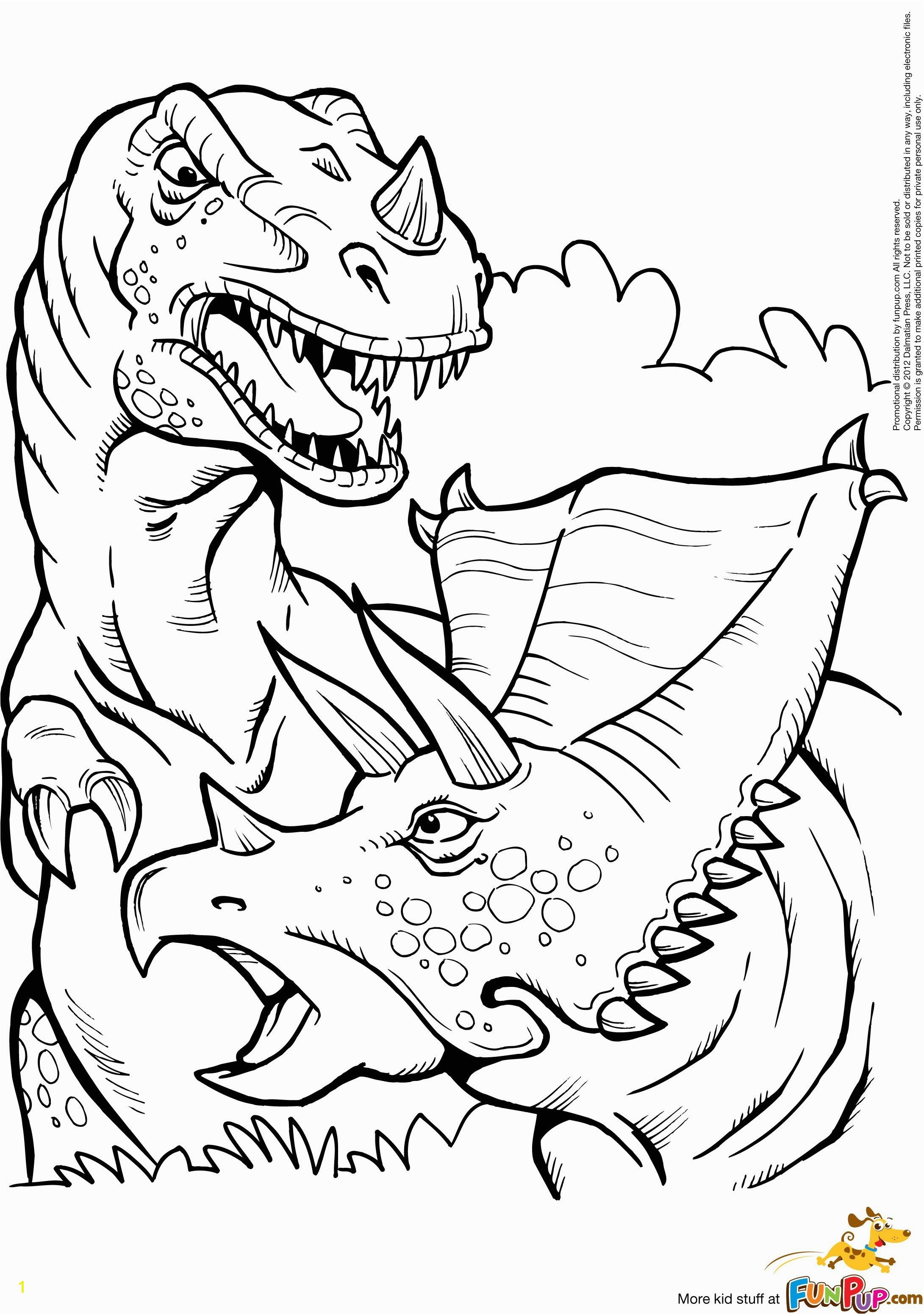 Kleurplaat printable t rex and triceratops coloring page