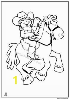 Cute Cowgirl Riding Picture Coloring Page