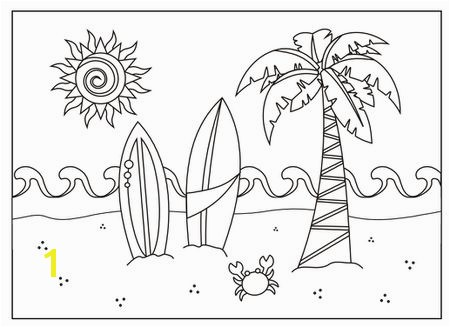 A beach scene coloring page