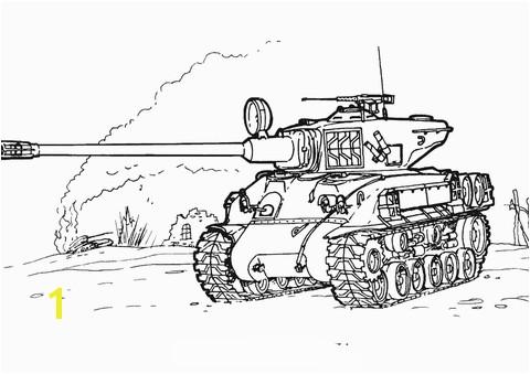 Sherman M 51 Tank coloring page
