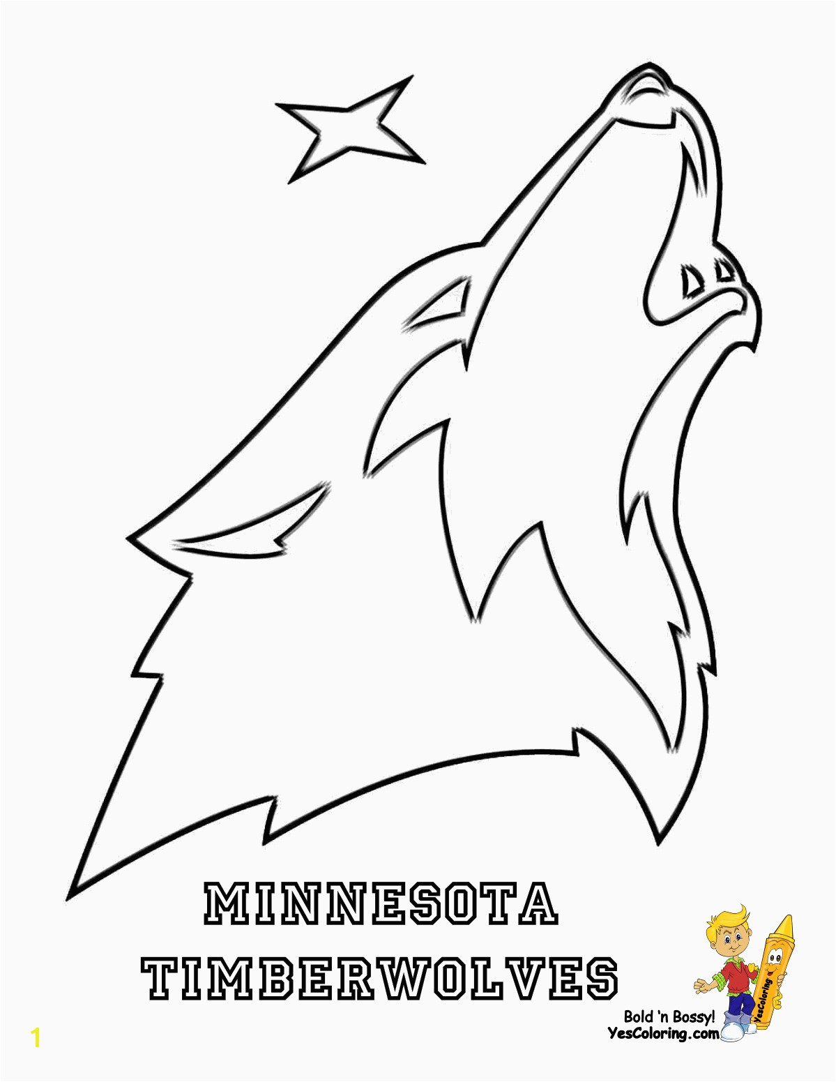 Beautiful Timberwolves Coloring Pages Big Bounce Basketball Printables NBA West Free Sports
