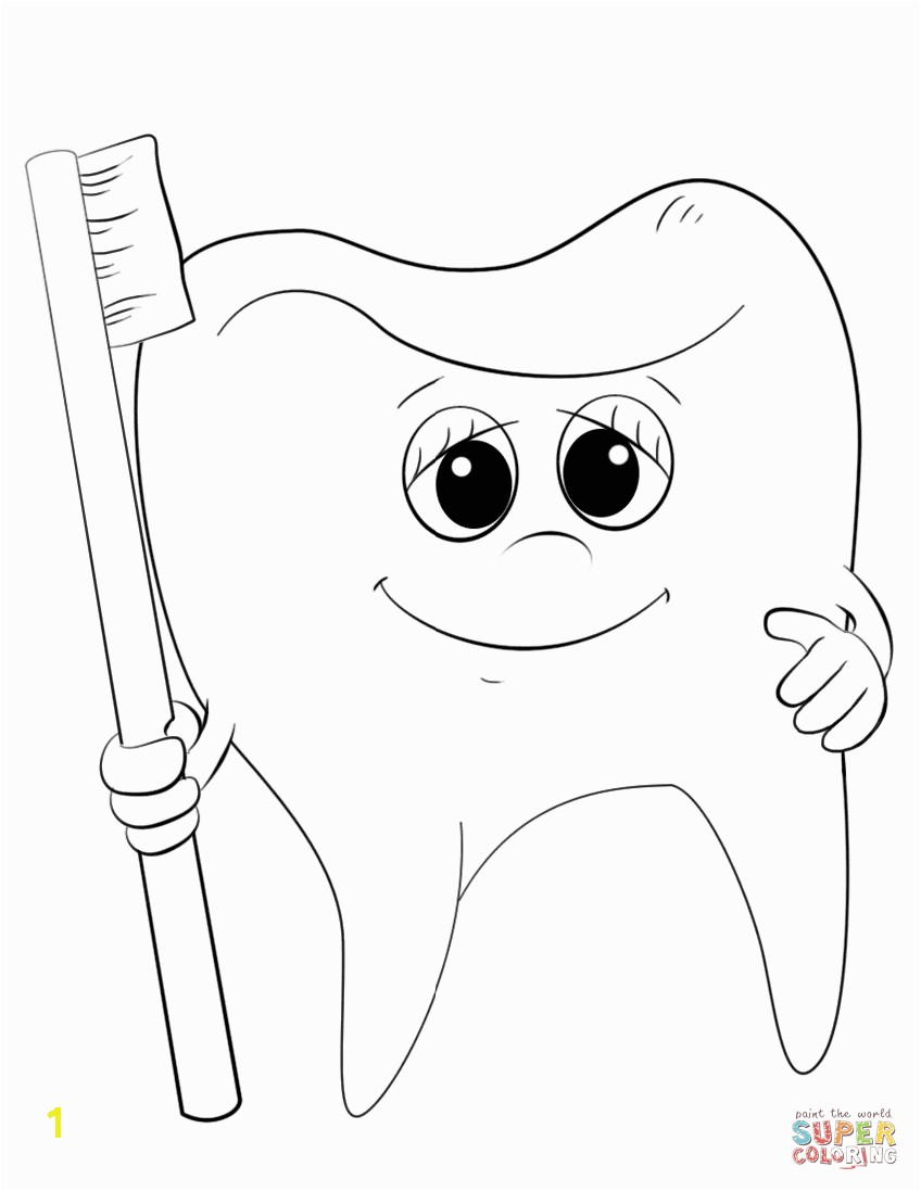 Tooth and toothbrush Coloring Pages Cartoon tooth and toothbrush Coloring Page