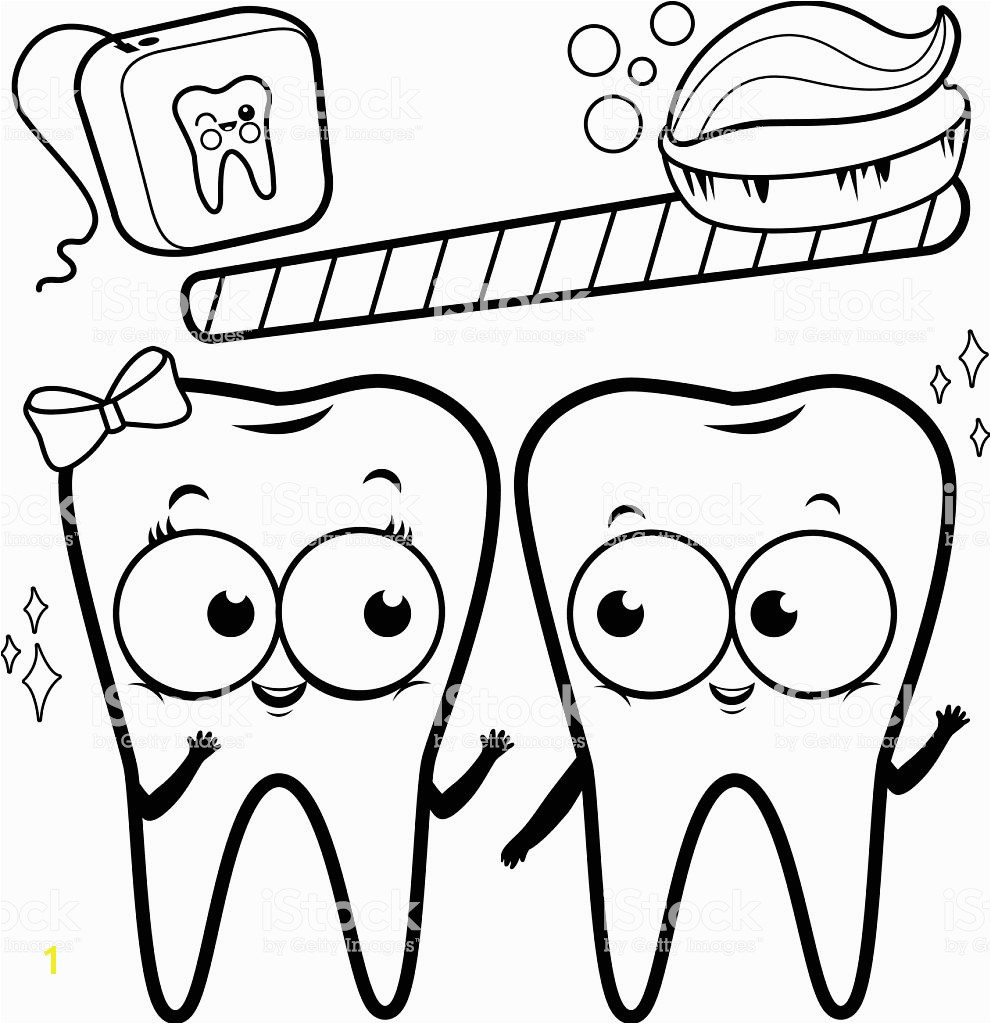 Coloring page cartoon teeth with toothbrush and dental floss royalty free coloring page cartoon teeth