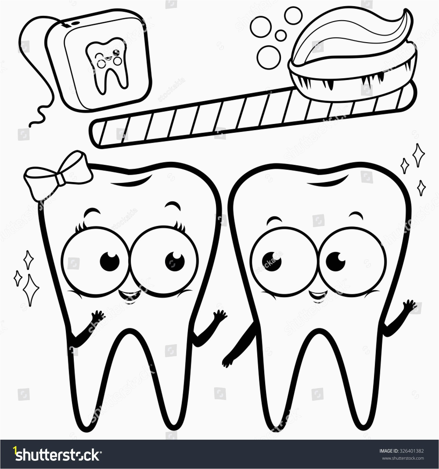 Tooth Coloring Pages Best Coloring Page Cartoon Teeth toothbrush Dental Stock Vector