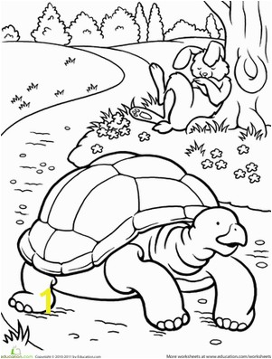 Tortoise and the Hare Coloring Page Color the tortoise and the Hare