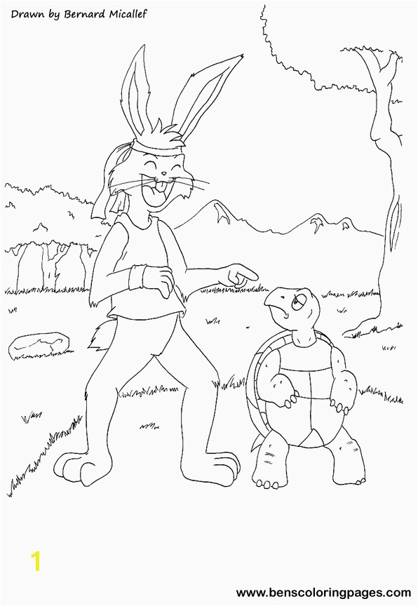 The tortoise and the hare fairy tale The tortoise and the hare coloring page