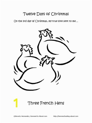 The Third Day of Christmas Coloring Page