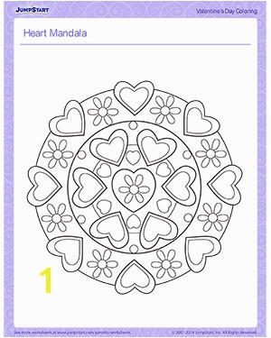 Heart Mandala Printable Children s Coloring Page for Valentine s Day