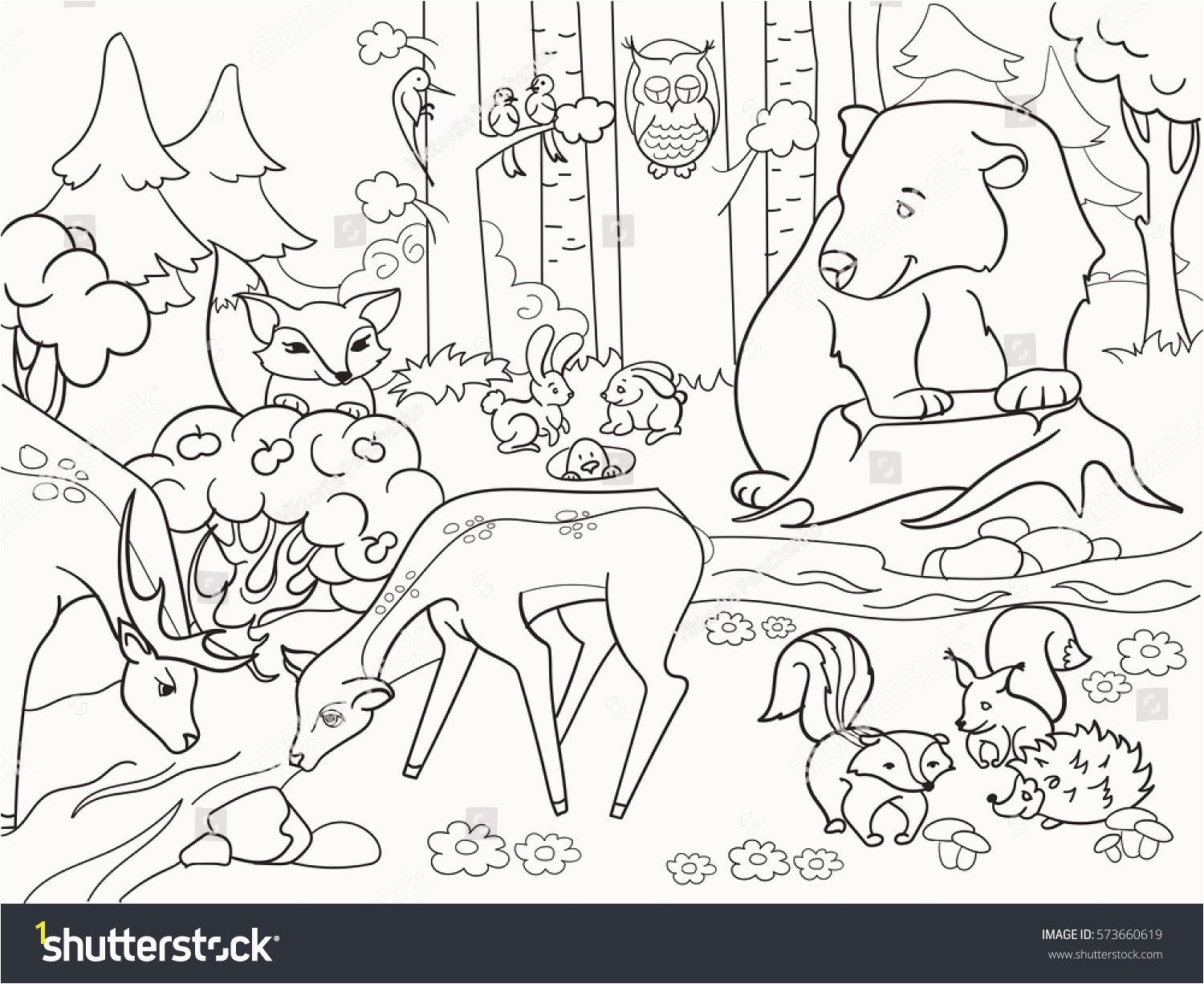 Weasel Coloring Pages Best forest Landscape Animals Coloring Book Adults Stock Vector Hd Weasel