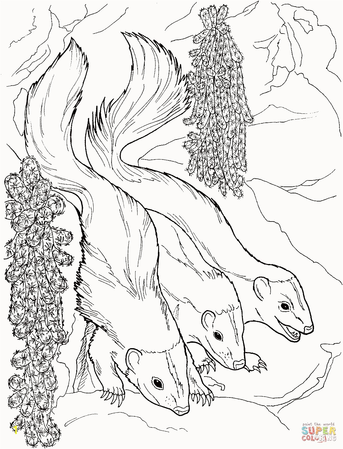 Weasel Coloring Pages Awesome Three Weasels Coloring Page Free Printable Pages Inside Mink Weasel Coloring