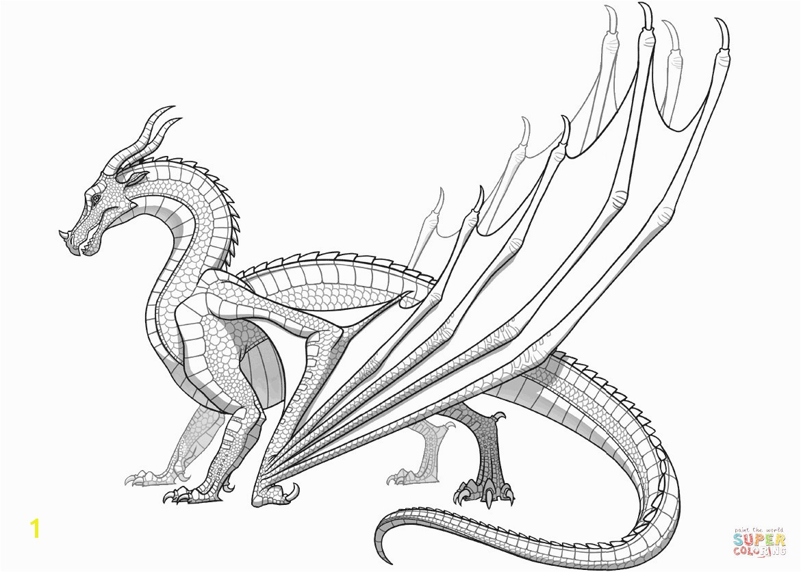 Skywing Dragon From Wings Fire Coloring Page Seawing Pages
