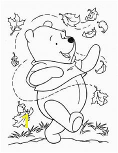 Pooh And Leaves coloring page from Winnie the Pooh category