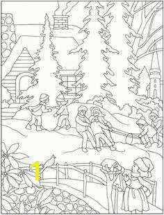 Snowy Winter Christmas Scene Coloring Page Christmas coloring pages Pinterest