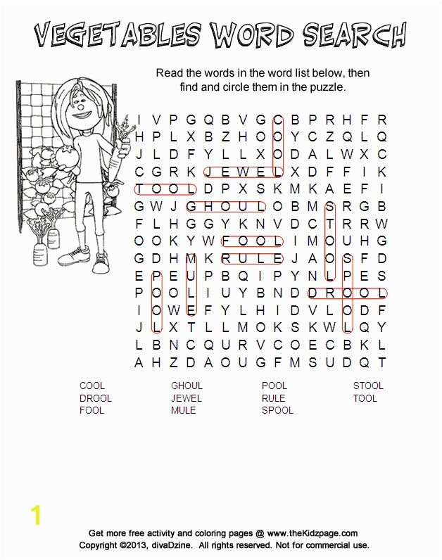Answers Ve ables Word Search Free Printable Learning Activities for Kids Printable Colouring Sheets
