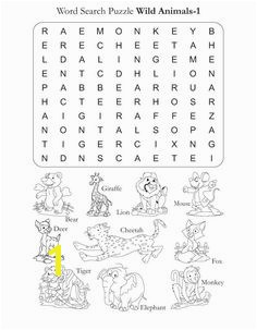 Word Search Puzzle Wild Animals 1