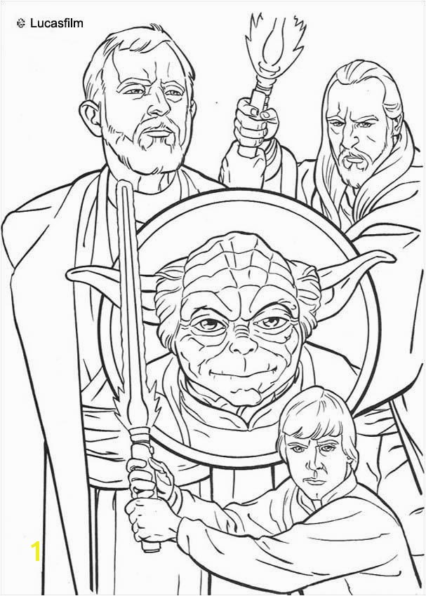 Jedi knights and Yoda coloring page