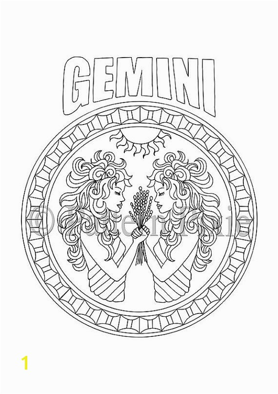 Adult Coloring Page Zodiac Gemini coloring paper Pinterest