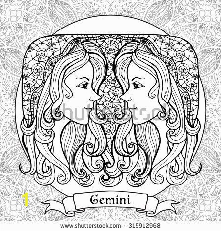 Coloring Page with pattern and zodiac sign Gemini in zentangle style
