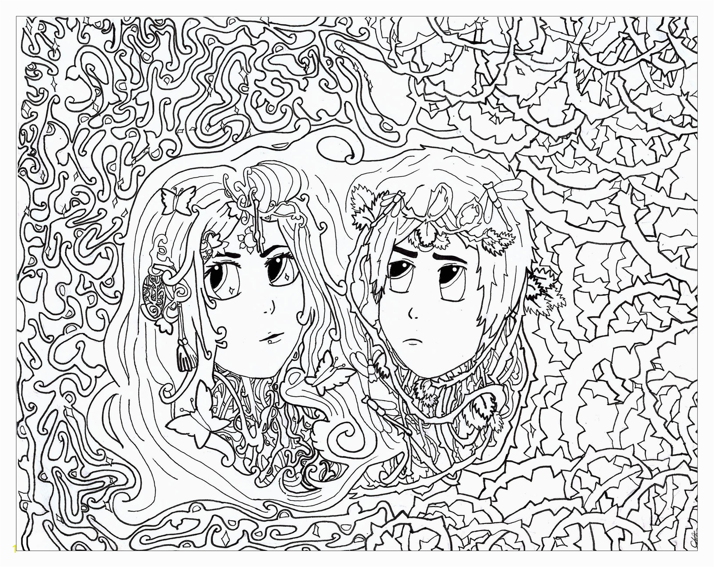 Coloring page inspired by The zodiac sign of Gemini