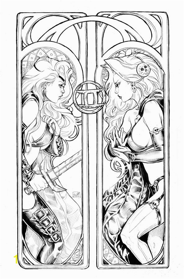Lady Death Zodiac Gemini lines by ToolKittenviantart on deviantART Printable Coloring