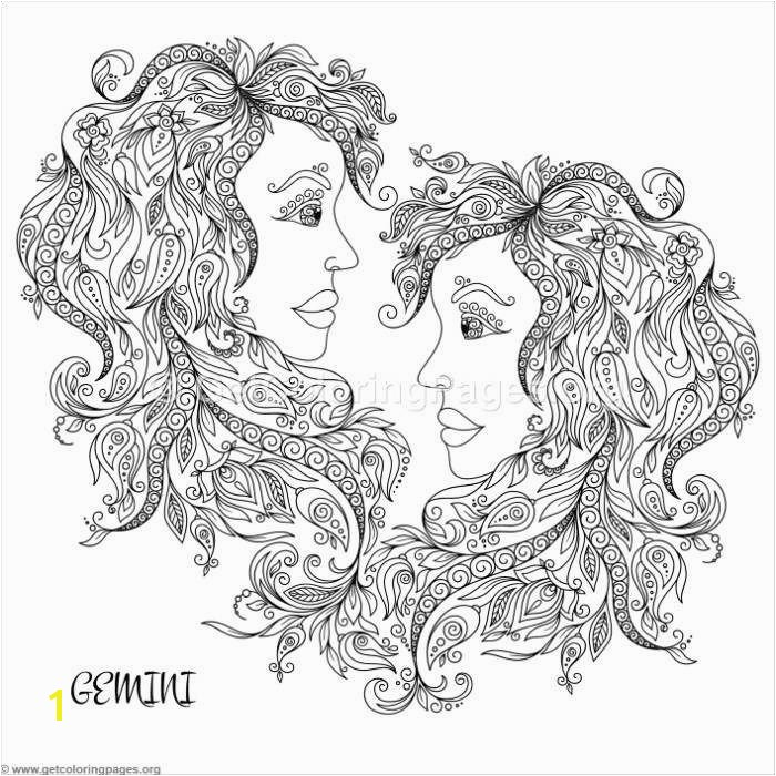 Zodiac Sign Gemini Coloring Pages