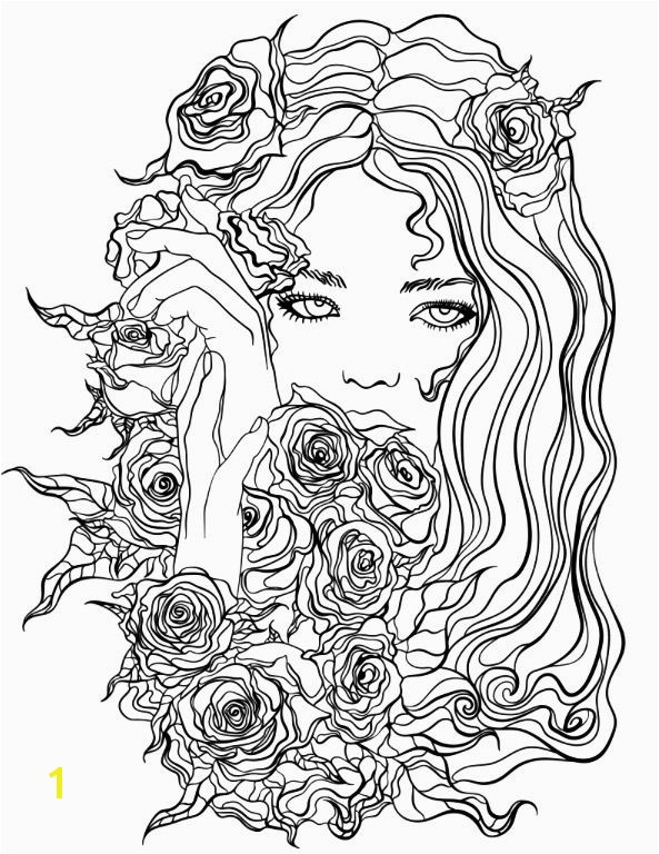 Pretty Girl with Flowers coloring page