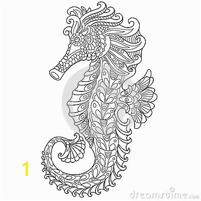 stock illustration zentangle stylized seahorse cartoon isolated white background hand drawn sketch adult antistress coloring page t shirt image