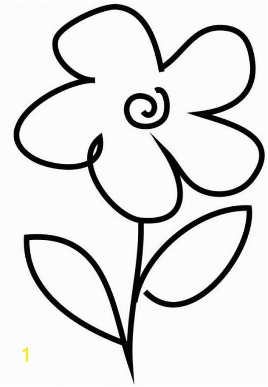 Simple Flower Coloring Pages Very Simple Flower Coloring Page for Preschool