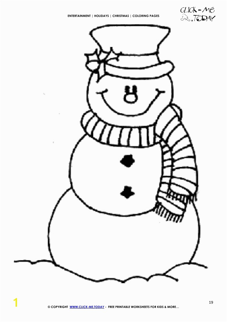 Snowman with Scarf Coloring Page Free Snowman & Scarf Coloring Page Christmas Snowman 19