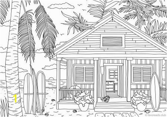 Beach House Coloring Pages Beach House Printable Adult Coloring Page From Favoreads