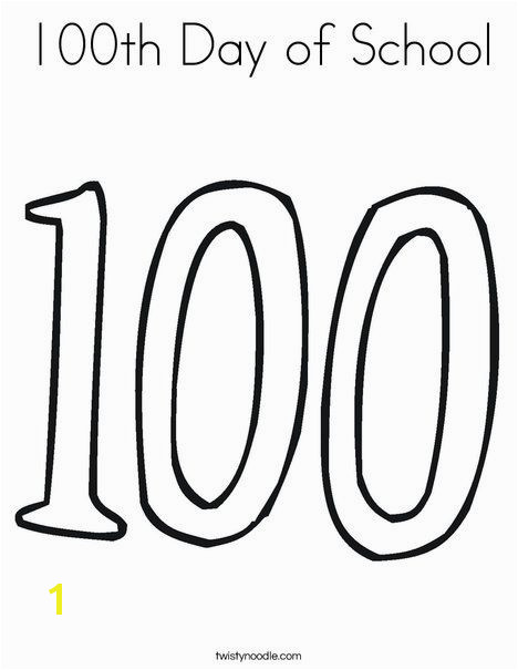 100th Day of School Coloring Page from TwistyNoodle