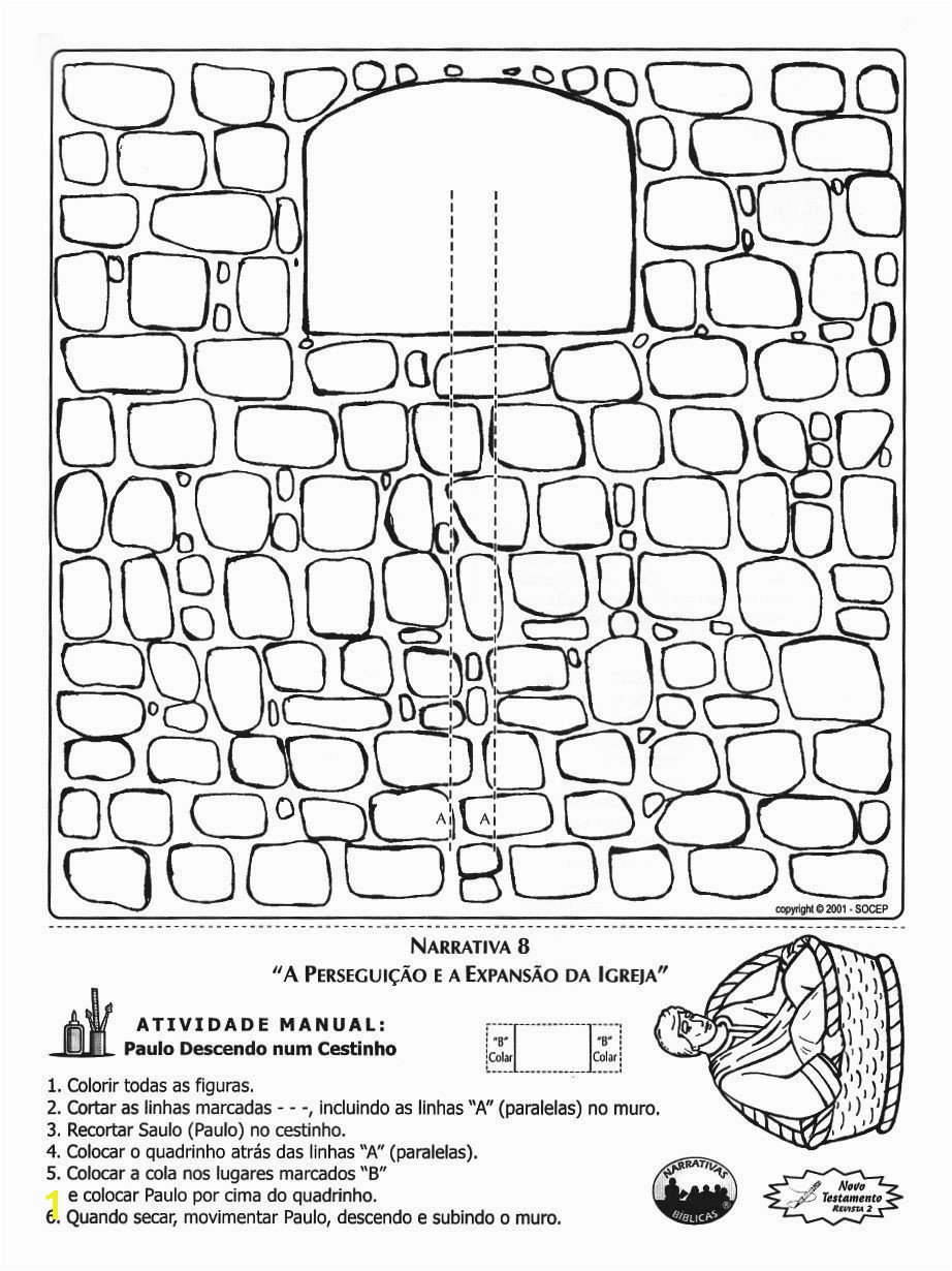 Acts 8 1 3 9 1 3 Paul s Conversion & Baptism Paul Escapes in a Basket Coloring Page & Craft Instructions are not in English however