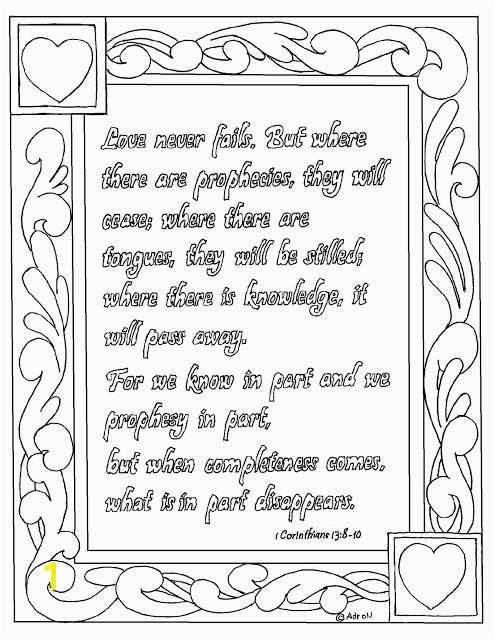 Coloring Pages for Kids by Mr Adron Free Printable 1 Corinthians 13 8 10 Coloring Page