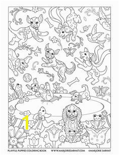 Playful Puppies — Marjorie Sarnat Design & Illustration Dog Coloring PageFree Adult Coloring PagesAnimal