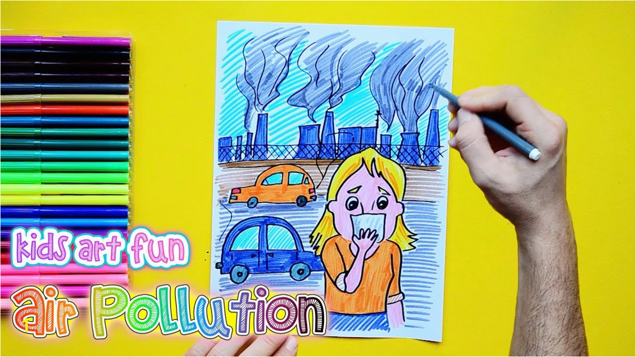 How to draw and color Air Pollution