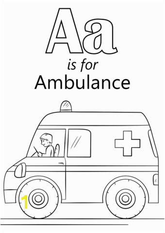 Letter A is for Ambulance coloring page from Letter A category Select from printable crafts of cartoons nature animals Bible and many more
