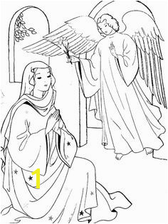 Angel Appears to Mary and Joseph and Tell Them about Birth of Jesus Coloring Pages